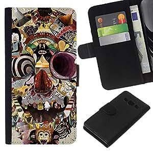 Be-Star la tarjeta de Crédito Slots PU Funda de cuero Monedero caso cubierta de piel Para Samsung Galaxy A3 ( Abstract Skull Painting Modern Art )