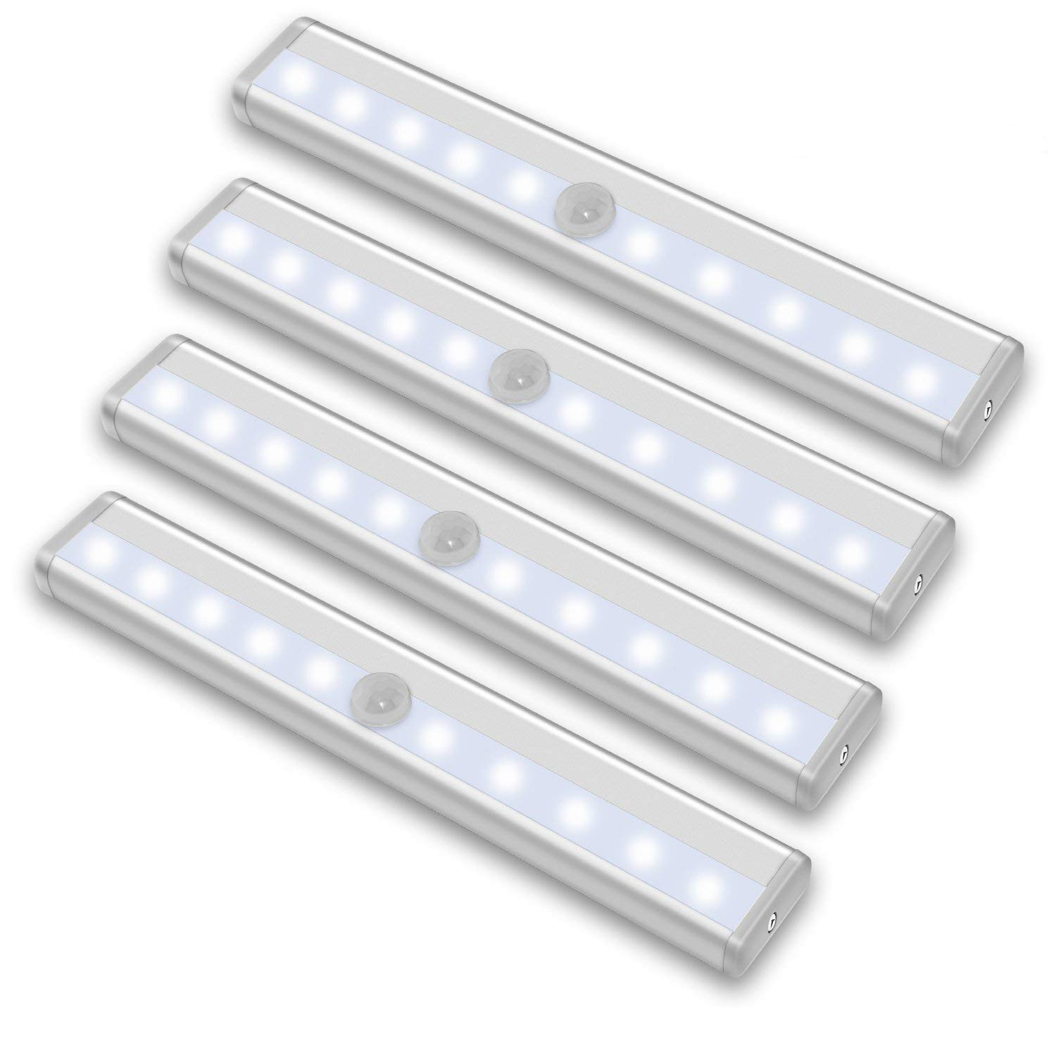 Rayhome 10-LED Motion Sensor Closet Light,Cordless Under Cabinet Lightening,DIY Stick-on Anywhere Activated Light Bar with Magnetic Strip Battery-Powered Super Bright White Night Lights (10Led4Pack)