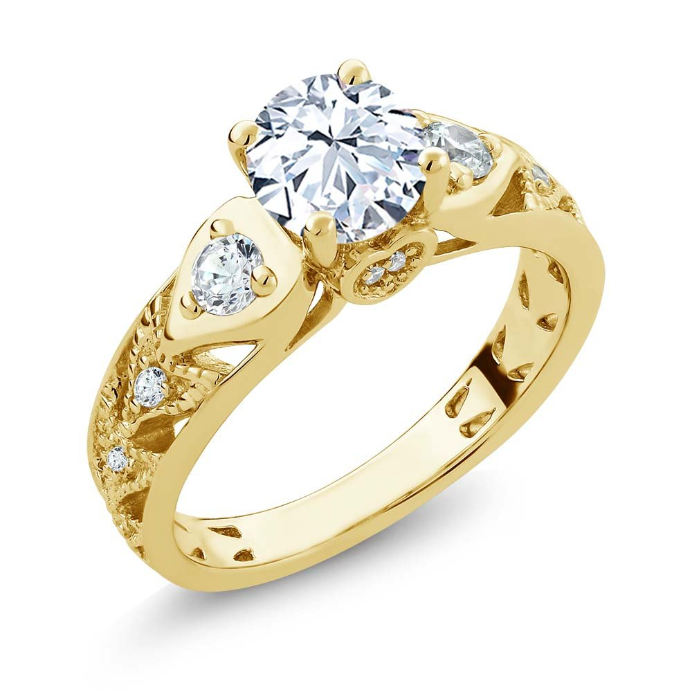 18K Yellow Gold Plated Silver White Created Sapphire Engagement Ring 2.46 Ctw (Size 5)