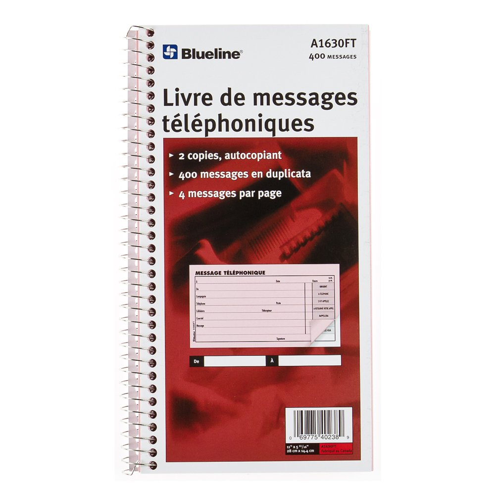 Blueline Telephone Message Book Spiral Binding 400 Messages Duplicates 4 per Page Carbonless French 11-Inchx5-11/16-Inch (A1630FT)