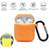 AirPods Silicone Case Cover Fluorescence in The Dark with Keychain Dust Guard for Apple Airpod 2 & 1 Night Glow(Yellow)