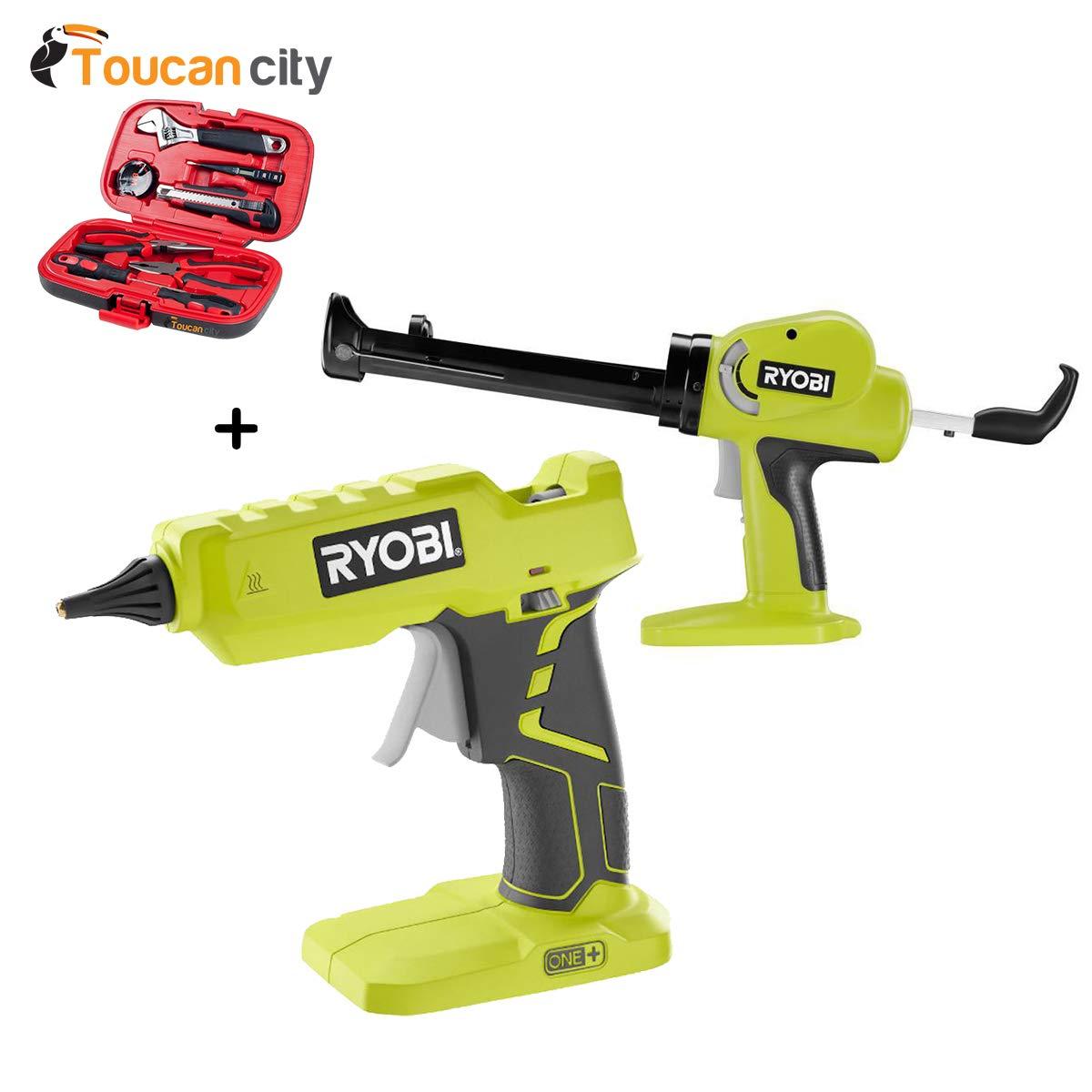 Toucan City Tool Kit (9-Piece) and RYOBI Full Size Glue Gun (Tool-Only) with 3 General Purpose Glue Sticks with RYOBI Power Caulk and Adhesive Gun (Tool Only) P305+P310G
