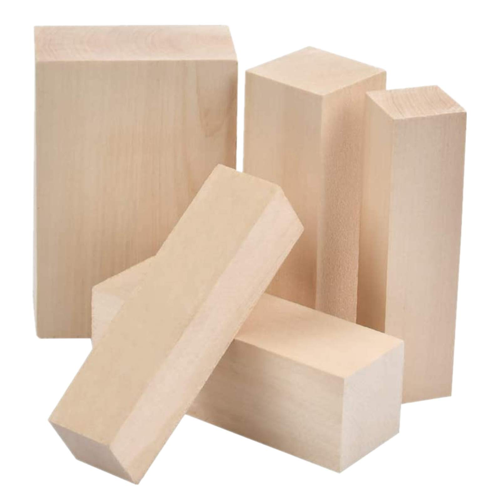 WOWOSS 8 Pack Unfinished Basswood Carving Blocks Kit Premium Kiln Dried Whittling Soft Wood Carving Block Hobby Set for Kids Adults Beginner to Expert