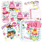 num cream - Num Noms Birthday Party Supplies Pack for 8 Guest Plates Napkins Cups Child Tableware Supply Set Kit include Tablecloth and Birthday Candles
