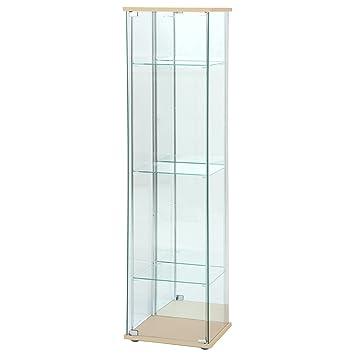 4段ロータイプ 幅42.5・高さ120cm ブラウン 不二貿易 ガラスコレクションケース 背面ミラー付き