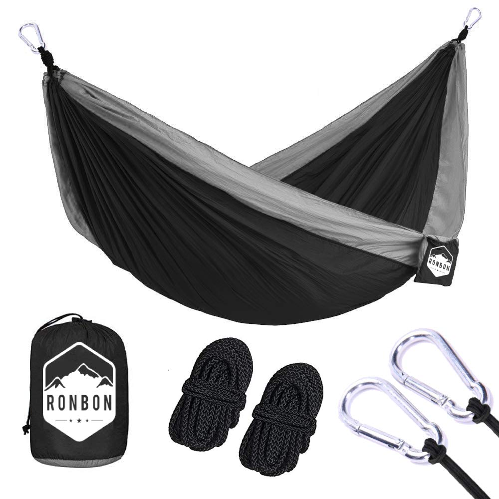 RonBon Outdoor Camping Hammock – for Hiking Traveling Beach Military- Portable Lightweight Parachute Nylon – 2 Free Carabiners