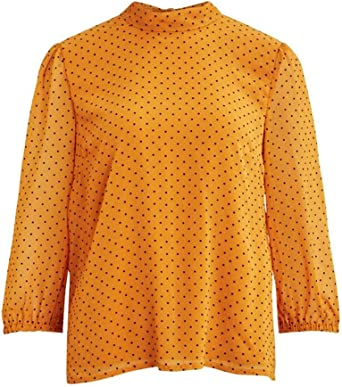 Vila Camiseta Blusa para Mujer Vibowlys 3/4 Top Golden Oak ...