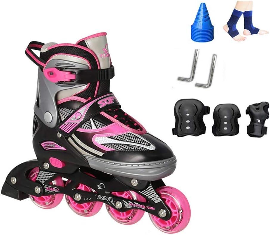 ZHANGHAIMING 大人の男性および女性のインラインスケート、調節可能なサイズのスケート初心者のための単列のローラースケートのフラッシュ、赤い粉の黒青 (色 : B, サイズ さいず : 37) B