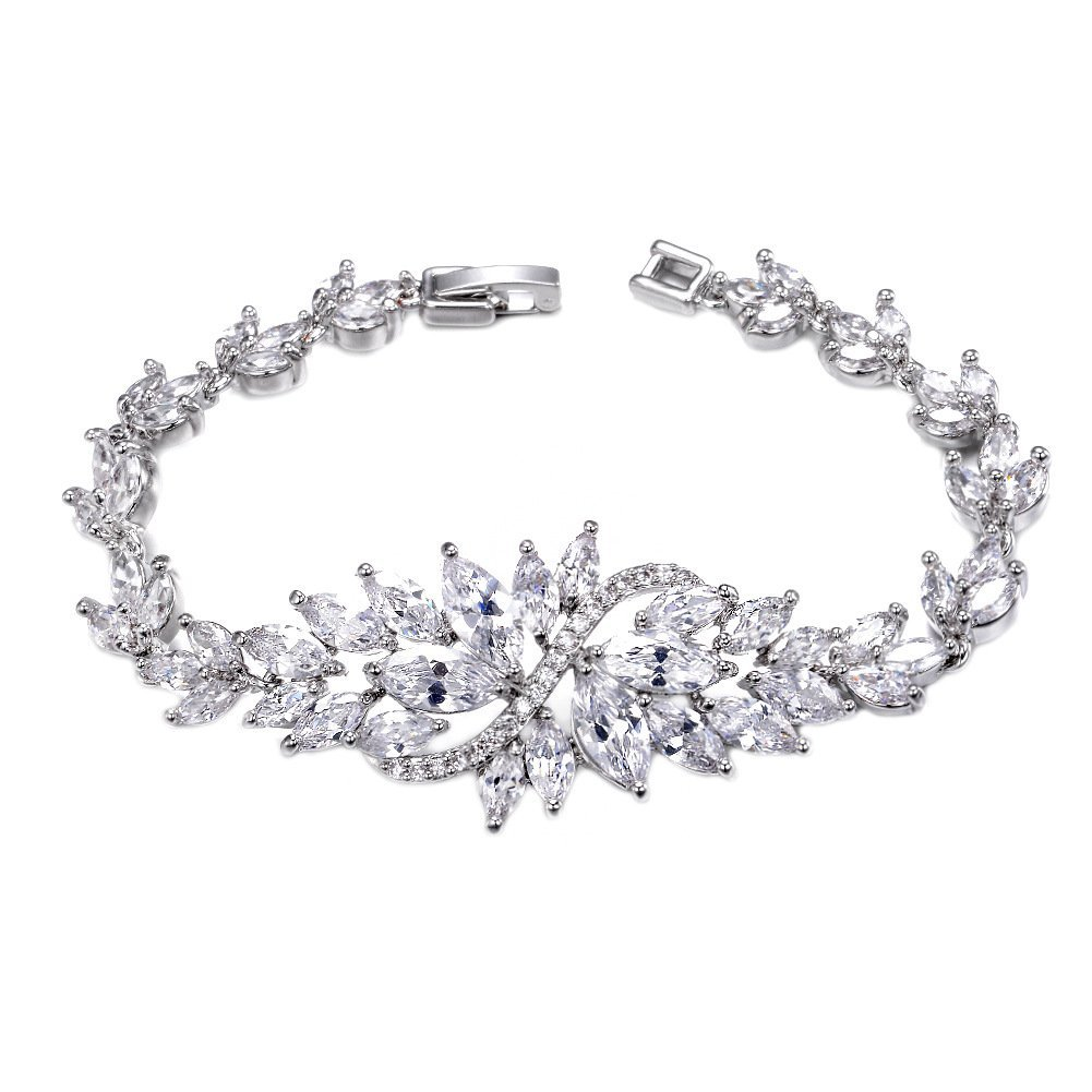 "UMODE Jewelry Leaf Design Marquise cut Cluster Cubic Zirconia Cz Tennis Bracelet for Women 6.3"" UB0005CA"