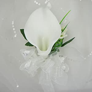Lily Garden Artificial Flower Calla Lily Boutonniere Corsage with Ribbon (Wrist White)