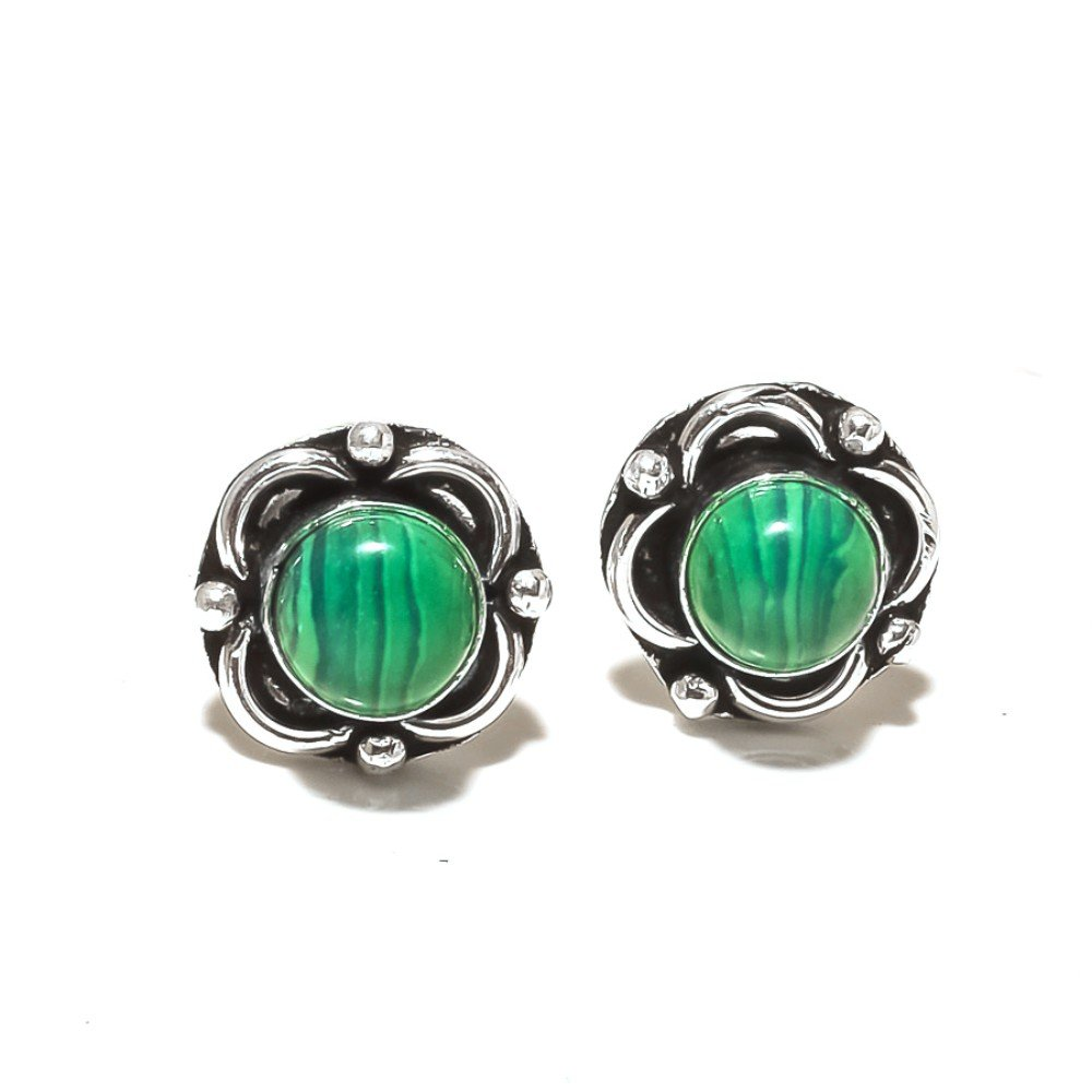 Green Malachite Sterling Silver Overlay 5 Grams Stud//Earring 12 mm Girls Gift Jewelry