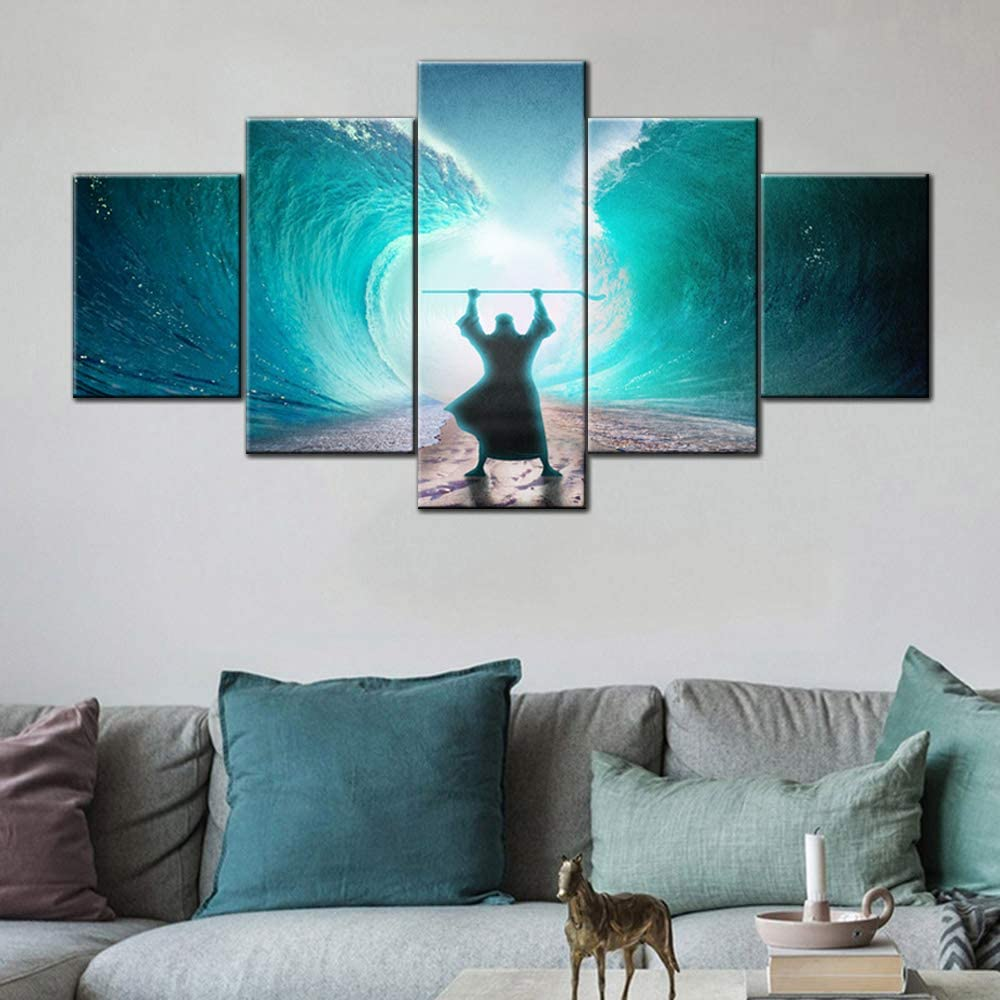Christian Pictures Moses Separate the Sea Paintings Religious Wall Decor 5 Panel Canvas Blue Teal Artwork Home Decor for Living Room Giclee Wooden Framed Ready to Hang Posters and Prints(60''Wx32''H)