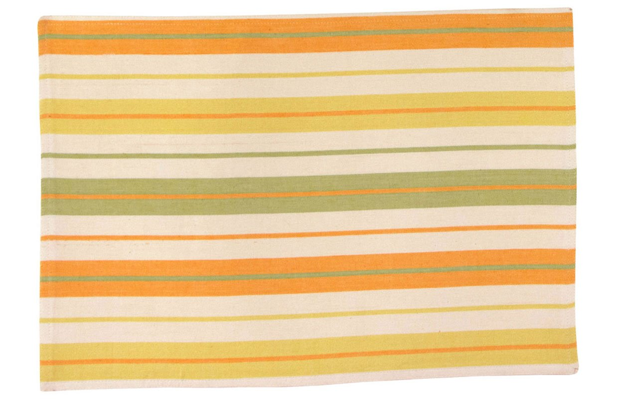 Traders and Company 100% Cotton Yellow & Green Striped 12''x18'' Placemat, Set of 6 - Kiawa