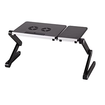 portable height adjustable folding aluminium laptop stand desk table with mouse pad vented w