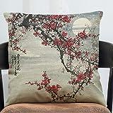 Sykdybz Sofa Cushion Antique China Wind Stamp Cotton Linen Antique Furniture Sofa Cushion The C