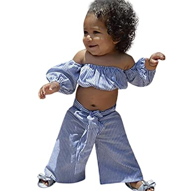 7666919fb20 Minisoya Cute Toddler Kids Baby Girls Off Shoulder Strapless Striped Crop  Tube Tops T Shirt Bowknot