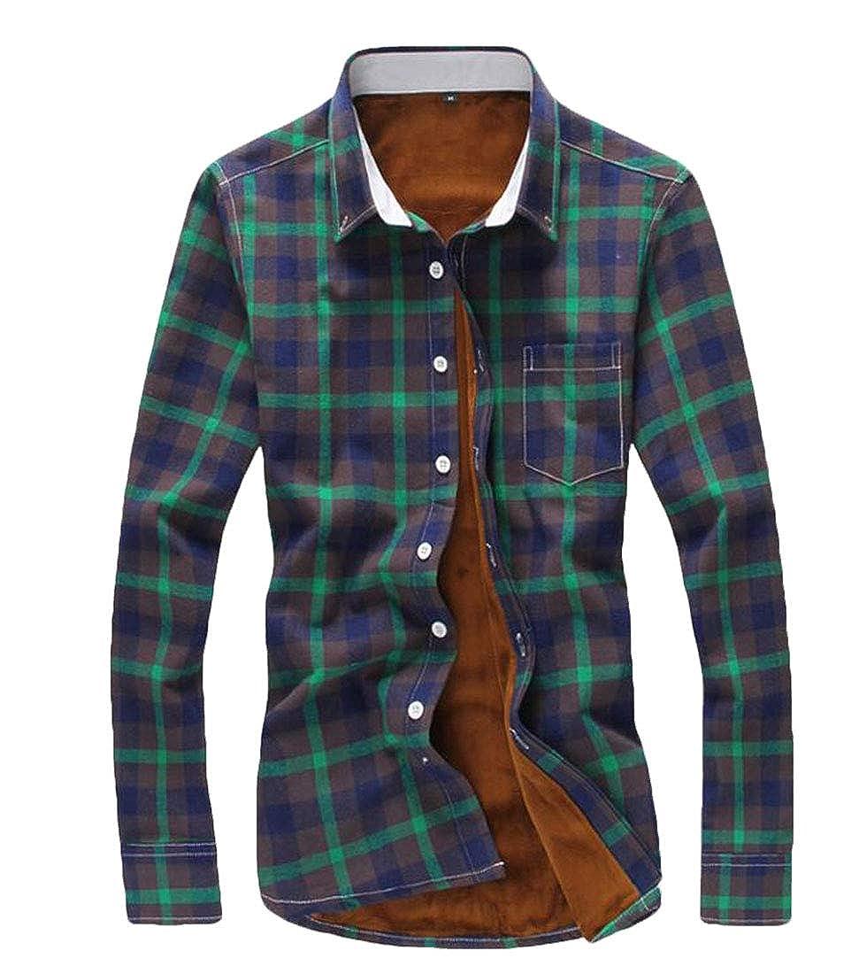 BYWX Men Long Sleeve Plaid Slim Fit Fleece Lined Thicken Button Down Shirt