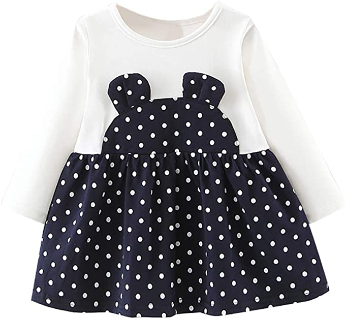 Vestido Bebe Niña Vestidos de Lunares Lindos de Manga Larga Jersey ...