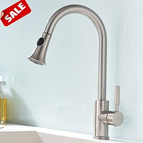 SHACO Best Single Handle Kitchen Sink Faucet, Brushed Nickel Faucets With  Pull Out Sprayer