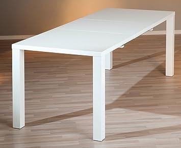 Pegane Table A Manger Extensible Coloris Blanc Laque Dim H 75 X