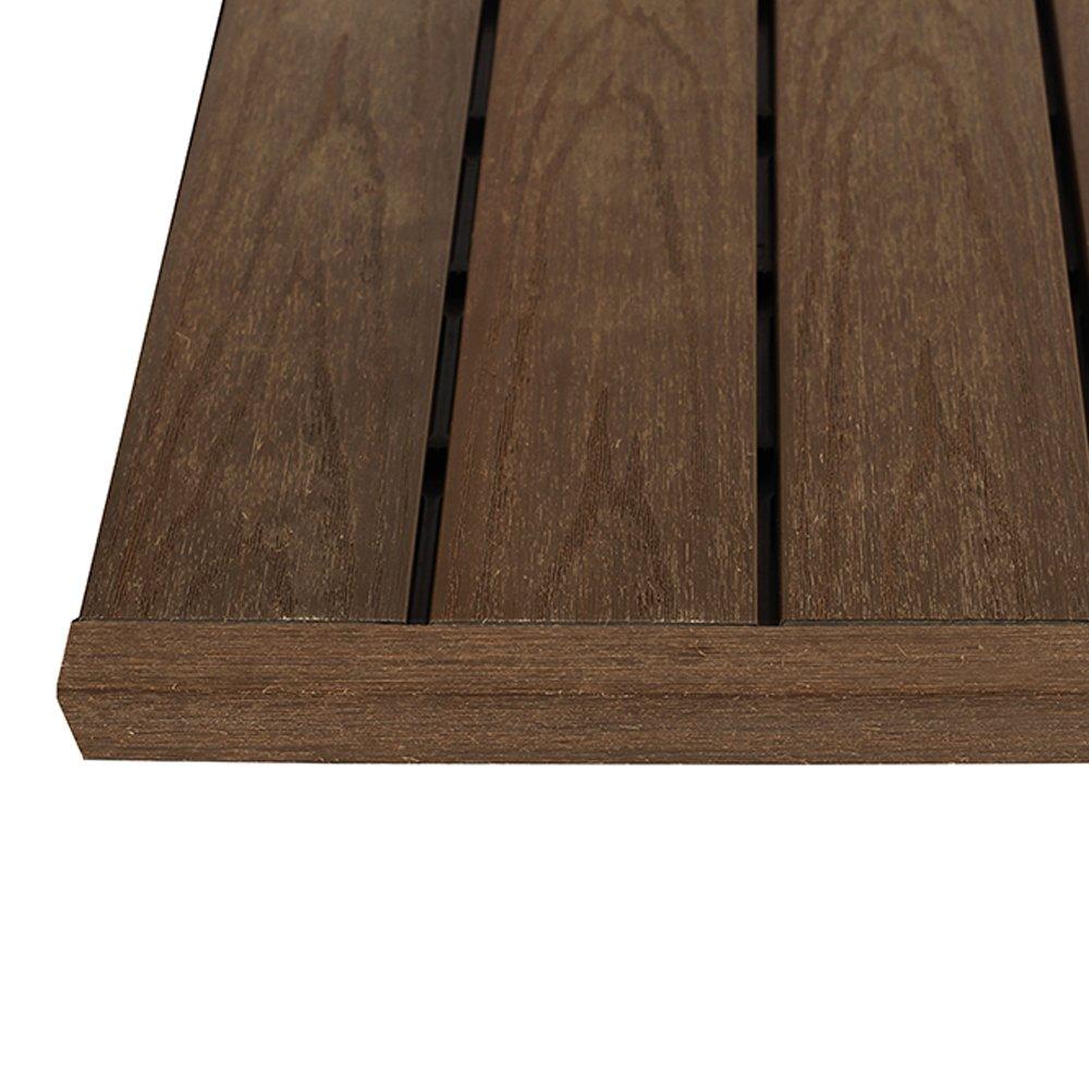 NewTechWood US-QD-ST-ZX-Ip 1/6 x 1 ft. Quick Composite Deck Tile Straight End Corner Fascia in Brazilian (4-Pieces/Box)