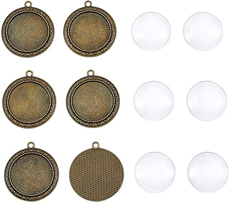 PH PandaHall 20 Sets Pendant Cabochon Sets Flower Shaped Silver Alloy Pendant Cabochon Settings with Half Round//Dome Clear Glass Cabochons for DIY Pendants Jewelry Making