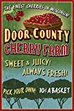 Door County, Wisconsin - Cherry Vintage Sign (9x12 Art Print, Wall Decor Travel Poster)