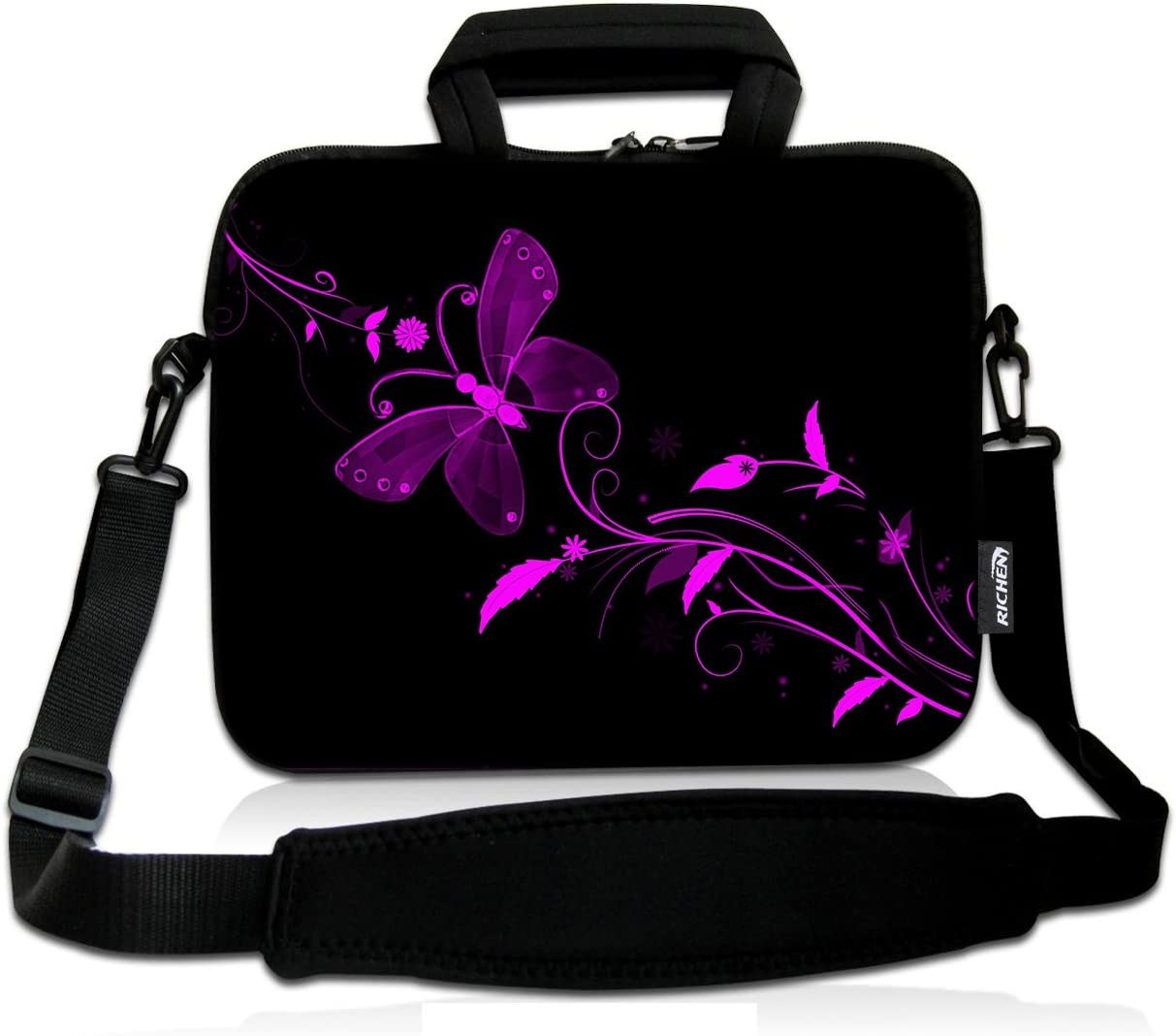 RICHEN 9.7 10 10.1 10.2 inches Messenger Bag Carring Case Sleeve with Handle Accessory Pocket Fits 7 to 10-Inch Laptops/Notebook/ebooks/Kids tablet/Pad (7-10.2 inch, Nice Butterfly)