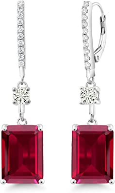 Sterling silver looped cross earrings with a central ruby stone ~ Vintage Dangle earrings ~ Stamped 925
