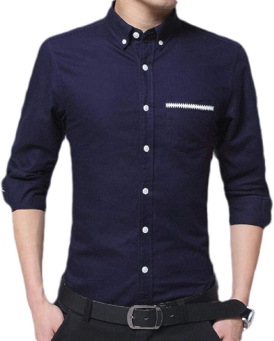WSPLYSPJY Mens Casual Button Down Collar Shirt Long Sleeve Business Dress Shirt