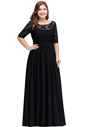 558fa77185f Babyonlinedress Womens Plus Size Chiffon Bridesmaid Dresses Sleeve Black 14W