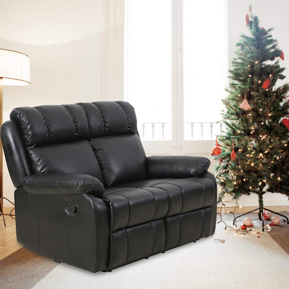 Details about Black Double Reclining Loveseat Sofa PU Leather Living Room  Recliner Furniture