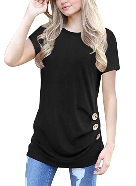 ba2beec5a42 Muhadrs Women's Comfy Casual Short Sleeve Tops Blouse Tunic T Shirts (S, 00  Black