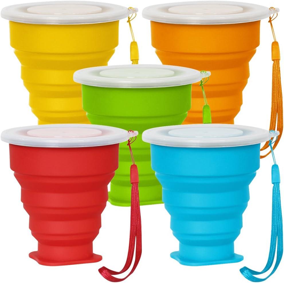 Senhai 5 Pack Copa de Viaje Plegable con Tapa, 6Oz Silicona Taza Plegable de Beber, BPA Libre retráctil para IR de excursión Camping Picnic - Azul, Verde, Amarillo, Naranja, Rojo