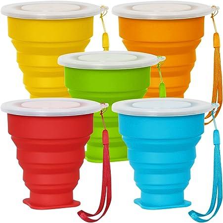 Senhai 5 Pack Copa de Viaje Plegable con Tapa, 6Oz Silicona Taza Plegable de Beber, BPA Libre retráctil para IR de excursión Camping Picnic - Azul, Verde, Amarillo, Naranja, Rojo: Amazon.es: Hogar
