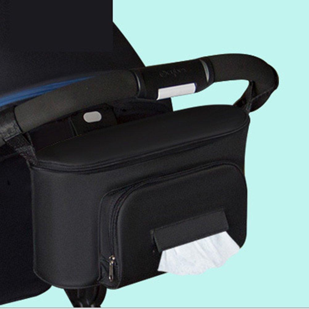 Techsmile bébé Organiseur pour poussette de stockage avec Porte-gobelets | universel toutes les poussettes–Parapluie double Organiseur pour poussette Poussette Sac de rangement Console