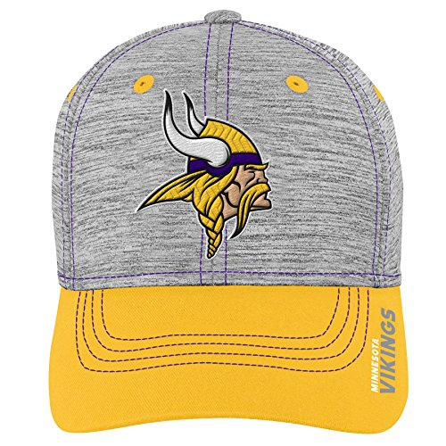L Minnesota Vikings Youth Boys Velocity Structured Flex Hat Heather Grey, Youth One Size ()