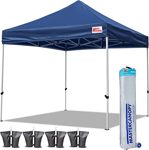 MASTERCANOPY Pop Up Canopy Tent 10x10 Commercial Instant Canopies with Heavy Duty Roller Bag,Bonus 4 Canopy Sand Bags 10x10 Feet, Navy Blue