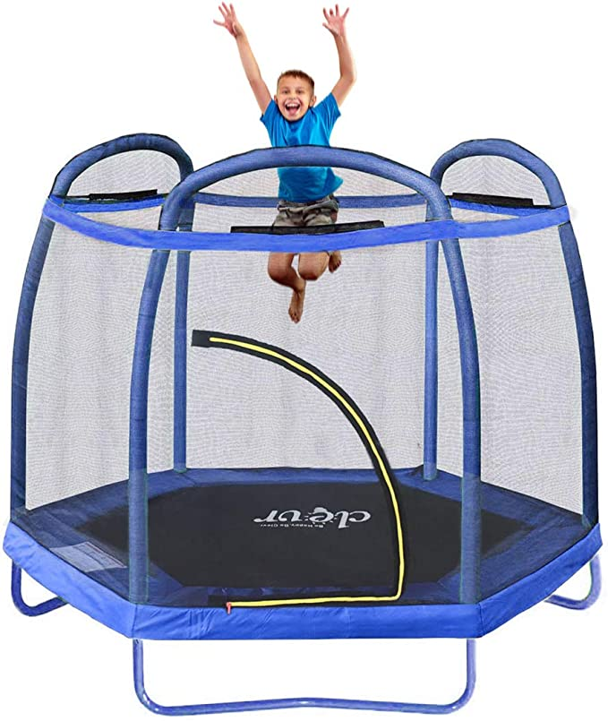 Clevr 7ft Kids Trampoline with an Enclosure Net - The Best Hexagonal Trampoline