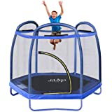 "Clevr 7ft Kids Trampoline with Safety Enclosure Net & Spring Pad, Mini Indoor/Outdoor Round Bounce Jumper 84"", Built-in Zippe"