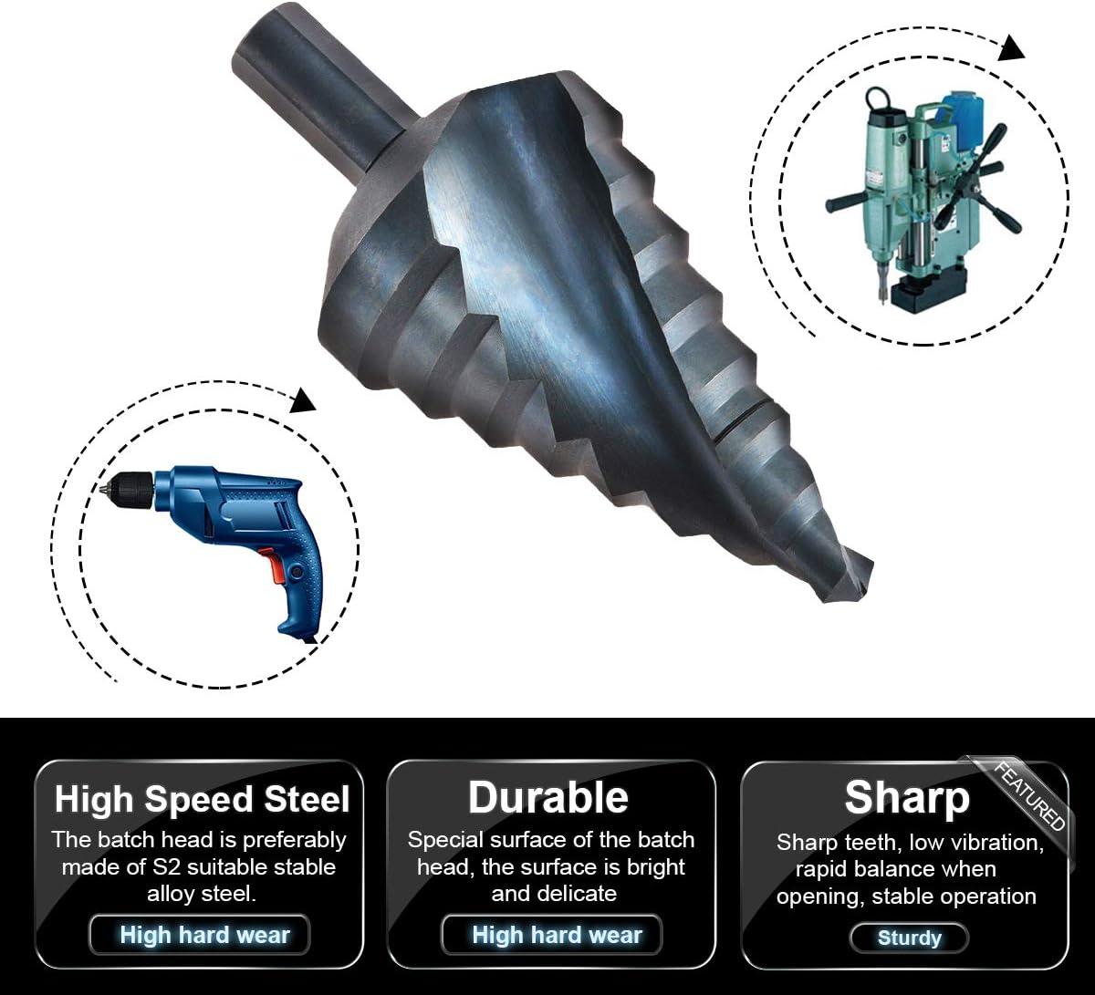 10 /à 45 mm Acier /à haute vitesse,Tige Triangulaire,Outils de Per/çage HSS pour Bricolage HOHXEN Foret /étag/é Rainur/é