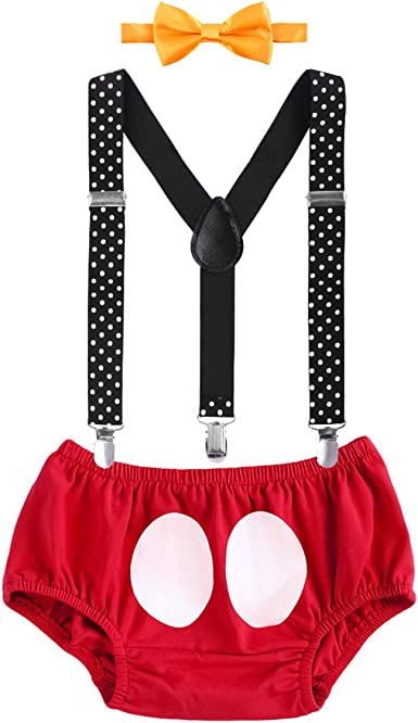Kids-Boys-Mickey-Mouse-First-Birthday-Cake-Smash-Set Outfit Toddler 3PCS Clothes