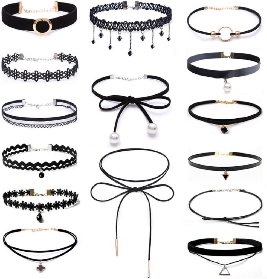 Set de 15 gargantillas negras, de estilo gótico, clásico, de terciopelo, elástico, de encaje, lazo