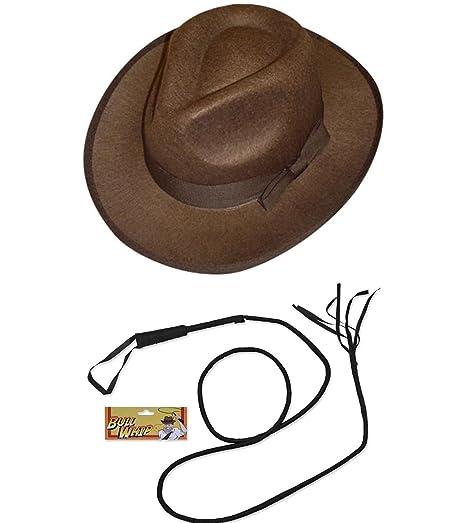Explorer Hat Whip Fancy Dress Indiana Jones (Hat   Whip Set)  Amazon ... 3556fce1a0a6