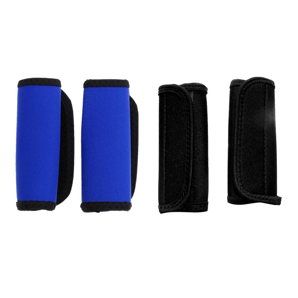 monkeyjack 2ペア製カヤックカヌーパドルグリップとループテープファスナー、Prevent水疱裂ける – Colors For Your選択 11.5 x 14 cm ブラックとブルー B0762MX437