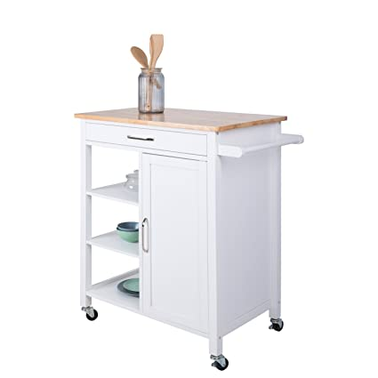 Incroyable Multi Purpose Wood Rolling Wood Kitchen Island Trolley Cart Wood Top  Storage Cabinet Utility (