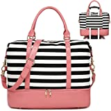Womens Travel Weekend Bag Canvas Overnight Carry on Weekender Duffel Beach Tote Bag (Pink Leather Black Stripe with Shoe…