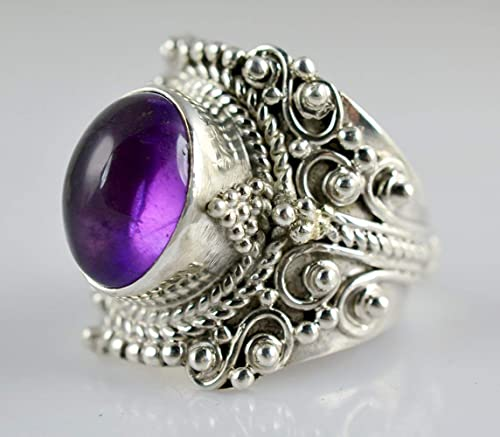 amethyst glass handmade natural stones unique piece handcrafted jewelry 950 silver ring with amethysts amethyst ring