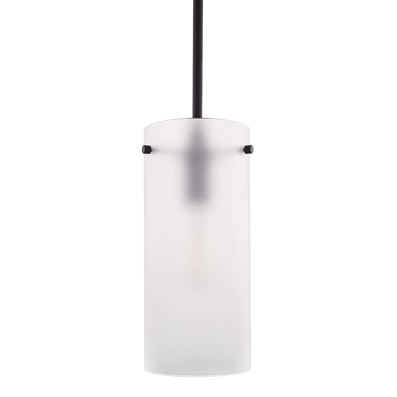Effimero Large Hanging Pendant Light   Black Kitchen Island Light, Frosted Glass Shade LL-P312F-BLK