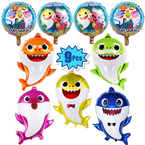 Giant Party Balloons (9 Pcs Baby Shark Party Helium Balloons - 26